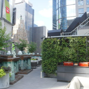 Nat Sherman's NYC outdoor Cigar Lounge with NYC skyline