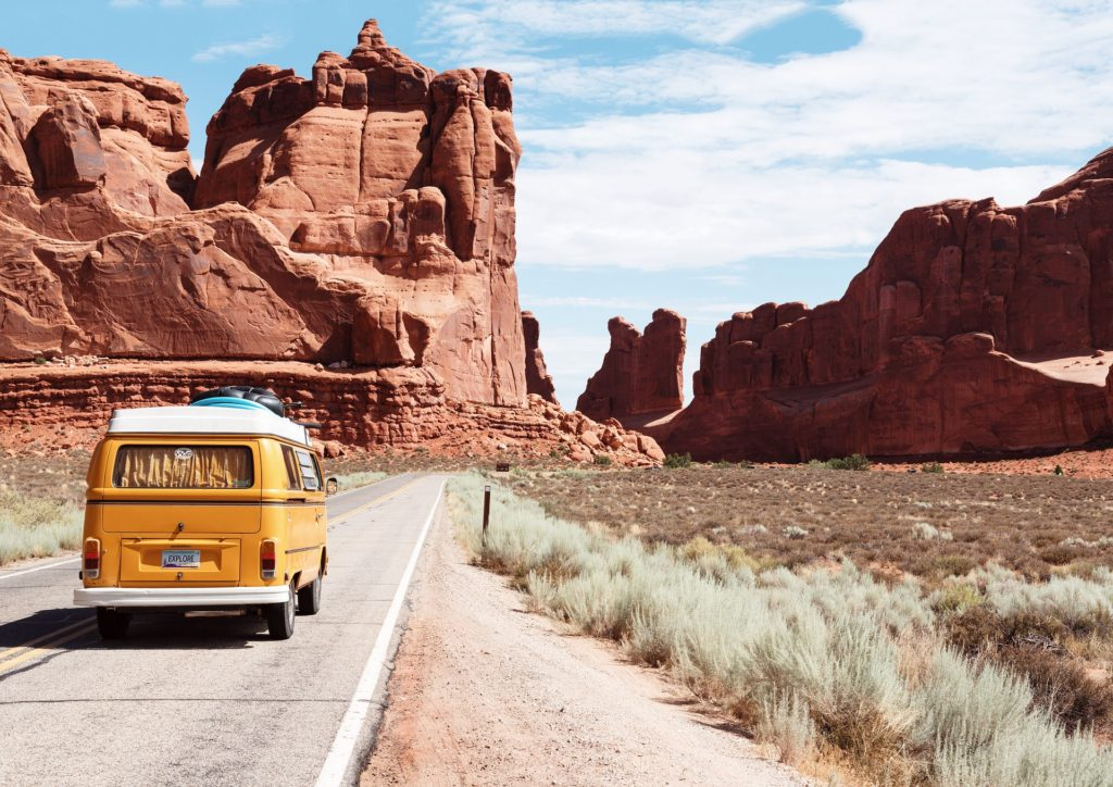 Arches National Park in Colorado, VW Bug driving