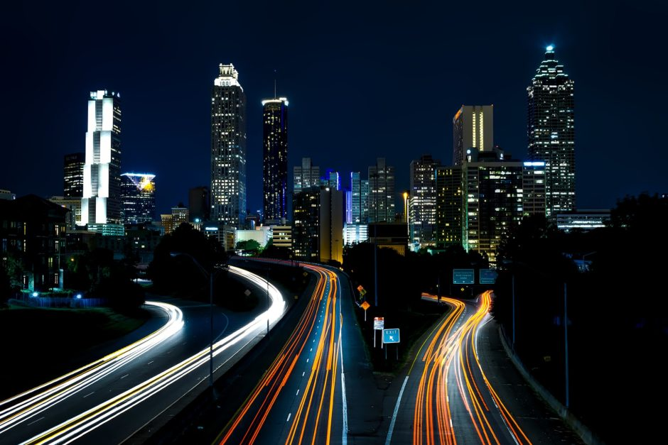 Atlanta at night, freeway and skyline