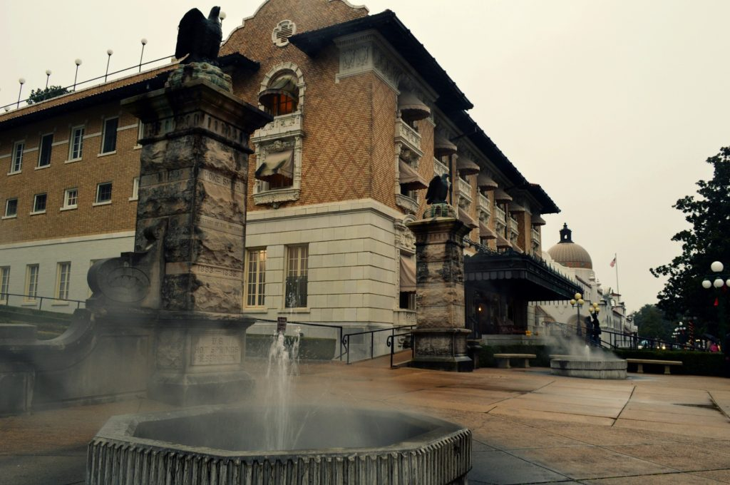Bathhouse and fountain in Arkansas