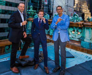 From left to right: Chef Charlie Palmer, VP Retail & Brand Development at Nat Sherman, Michael Herklots, The Knickerbocker Managing Director, Jeff David. Photo Credit: Frank Villegas