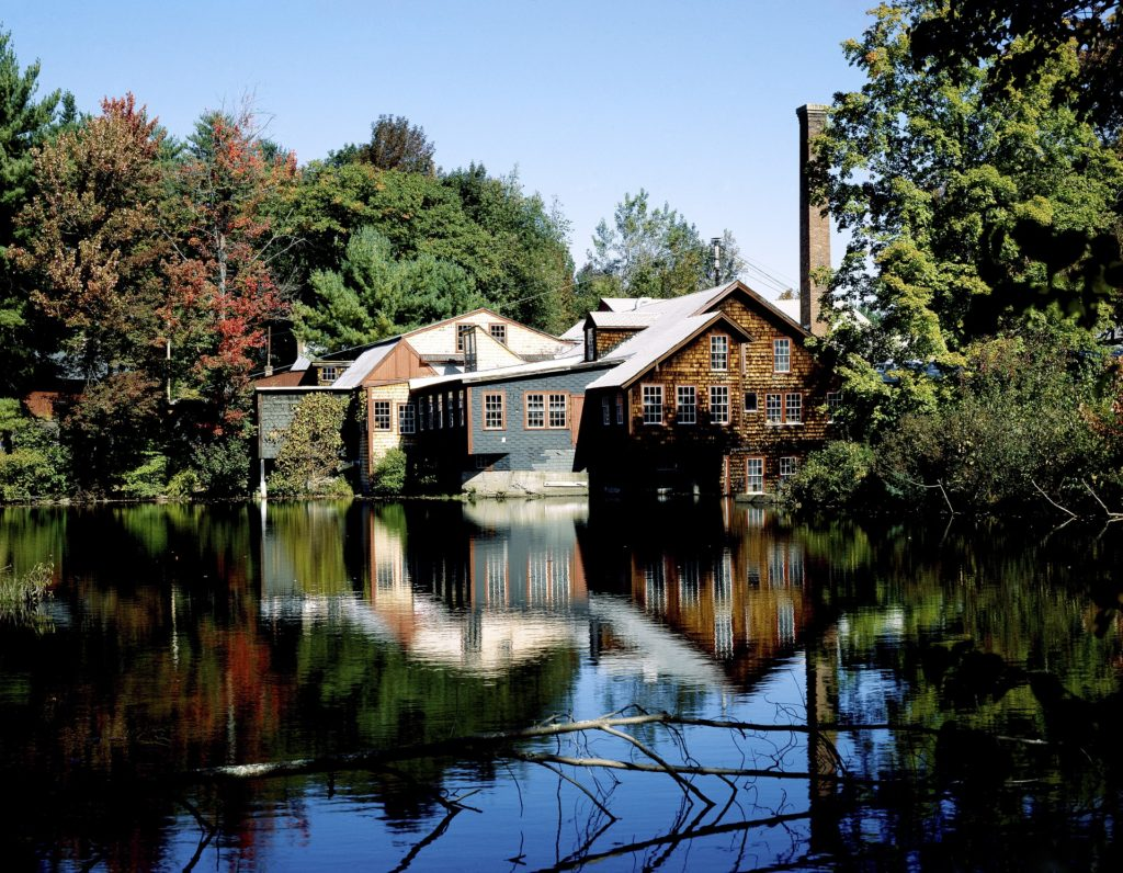 Mill next to a pond in new hampshire