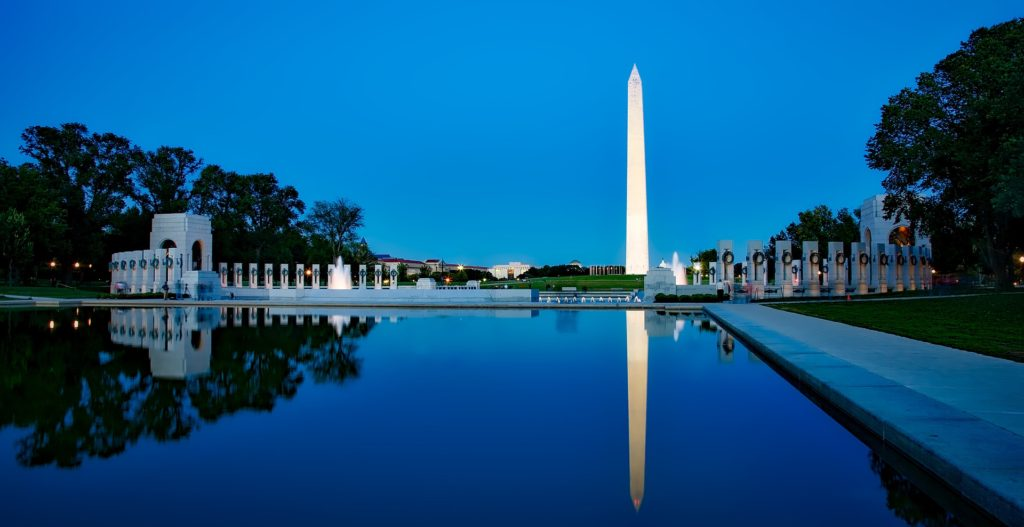 Washington Monument reflecting in pool