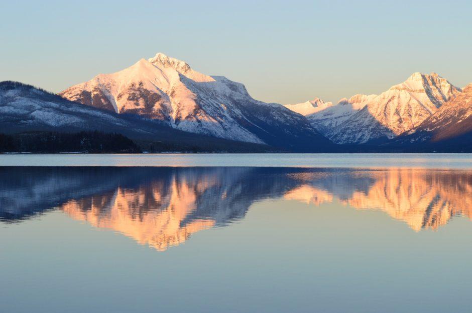 Lake McDonald in Montana, reflected in the lake