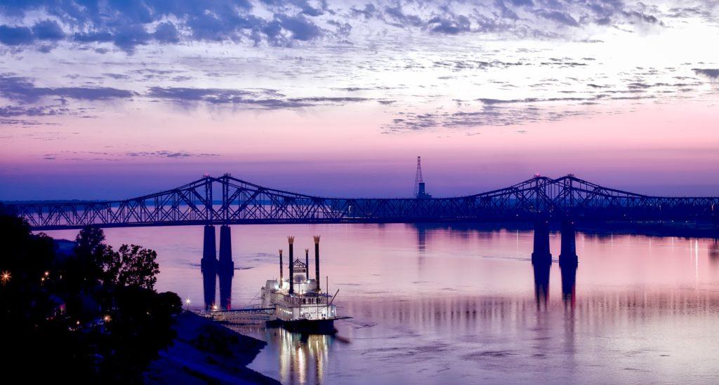 Natchez river in Mississippi at sunset