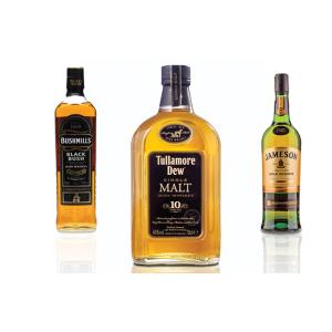 whiskey irish, three bottles