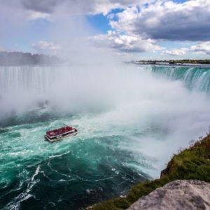boat approaching Niagara falls in Canada