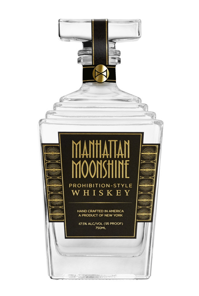 Manhattan Moonshine whiskey bottle