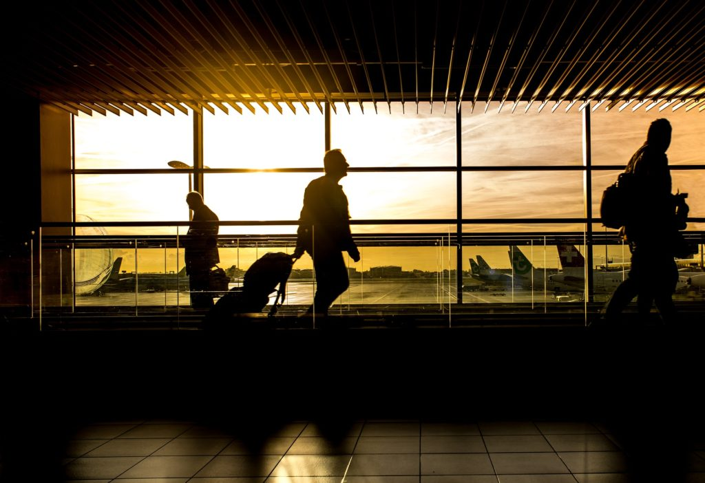Airport interior at sunset