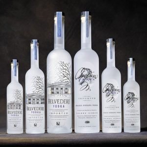 Belvedere vodka various bottle lined up