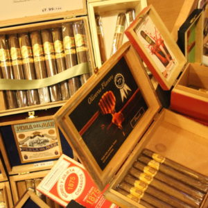 Market Tobacco shop in seattle, close up of cigar boxes