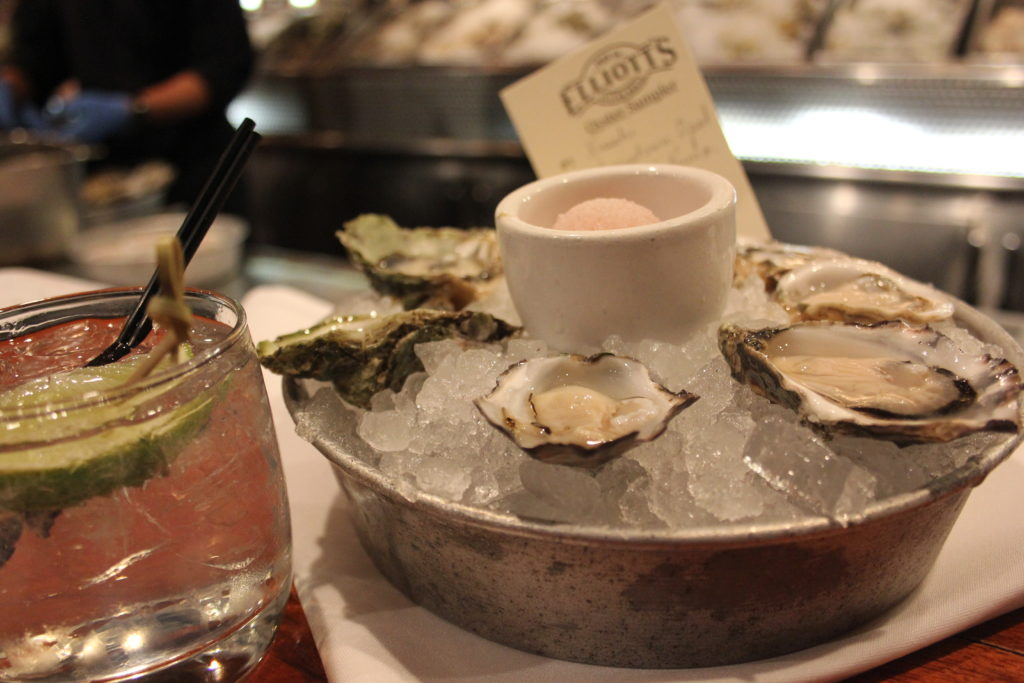 oysters and gin at Elliott's