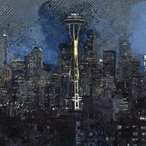 Seattle stylized painting of skyline