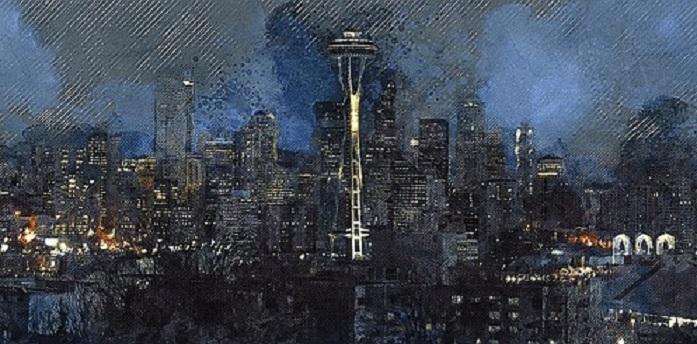 Seattle stylized painting of skyline