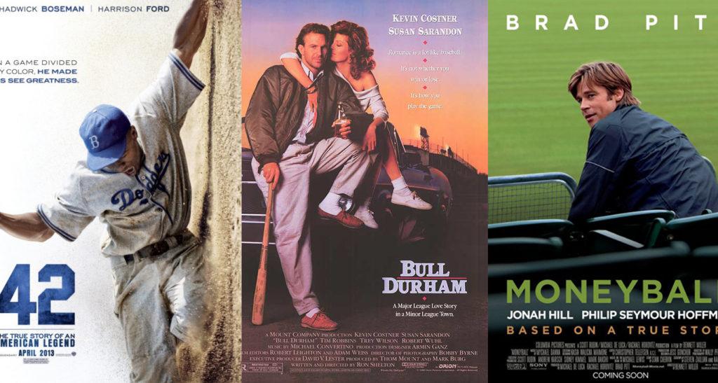 Baseball Movie Posters, Bull Durham, 42, and Moneyball