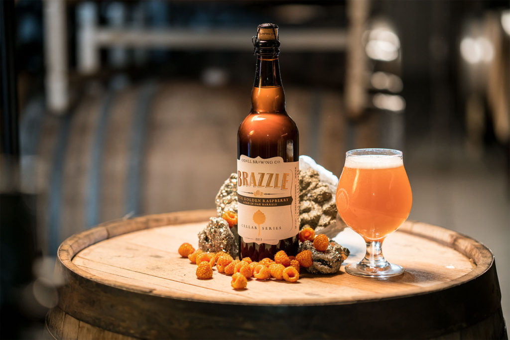 Odell's Golden Raspberry Sour Brazzle bottle and glass