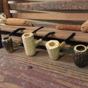 Missouri Meerschaum Corncob Pipes lined up