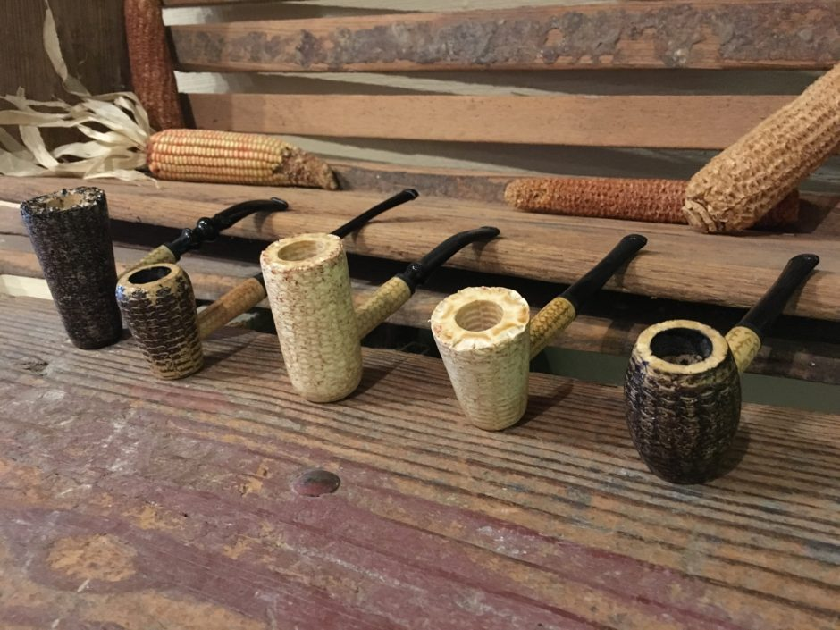 Missouri Meerschaum Corncob Pipes lined up
