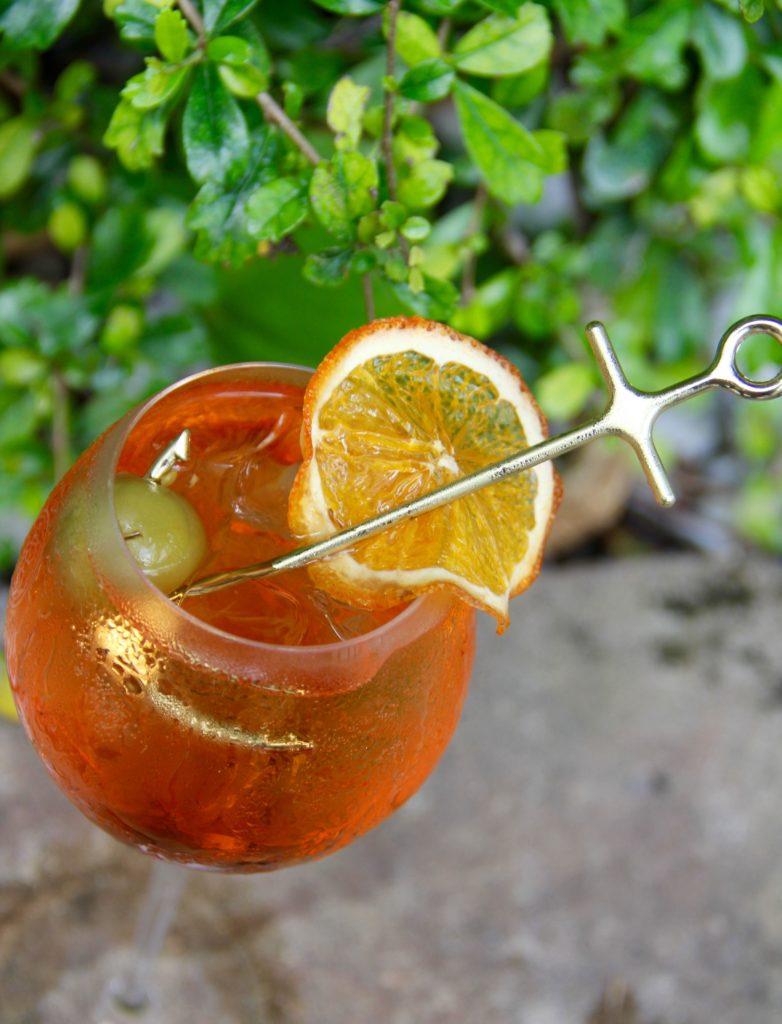 Mykonos Spritz drink with sword in the drink