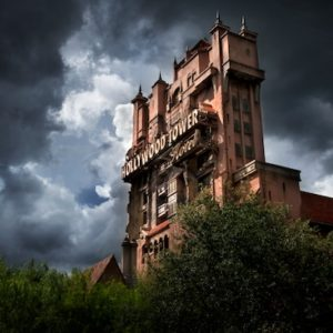 amusement parks: Disney World Twilight Zone Tower of Terror looking ominous