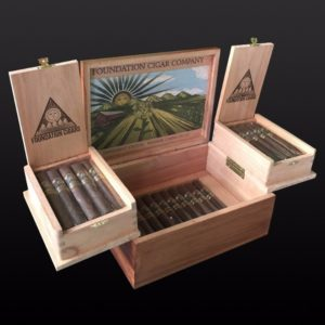 Foundation cigar company humidor box opened with cigars