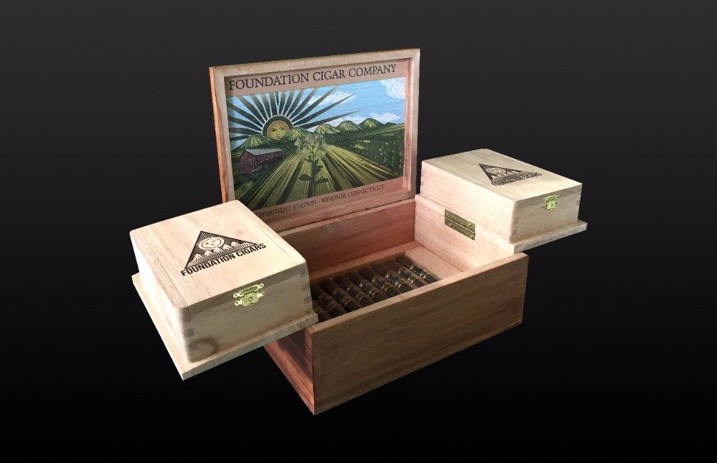Foundation cigar company humdior box with cigars