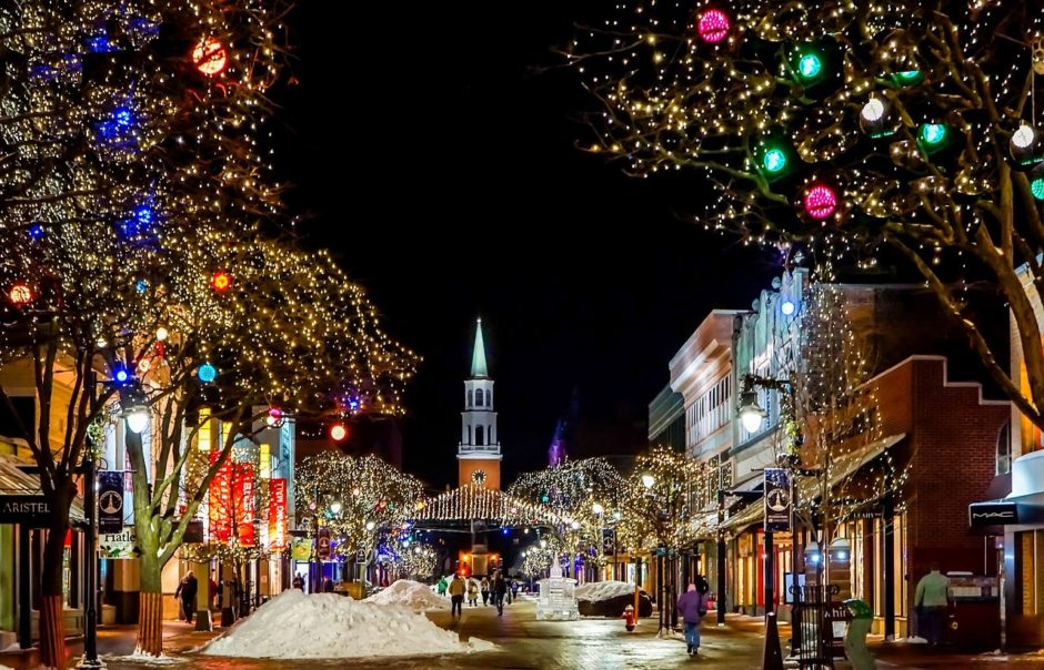 town lit up for christmas in vermont