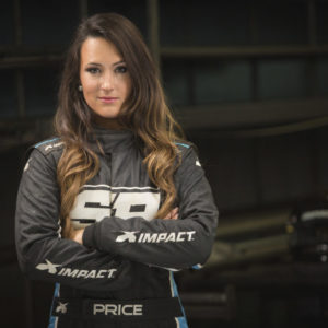Sara Price in her racing gear with arms folded