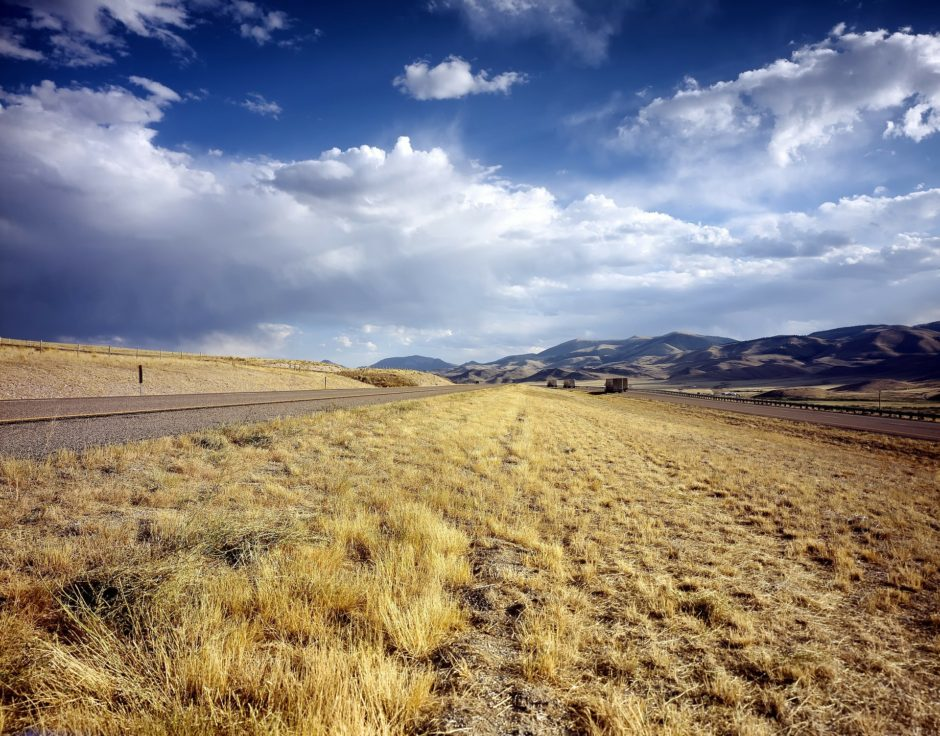 Open plains and road in Idaho