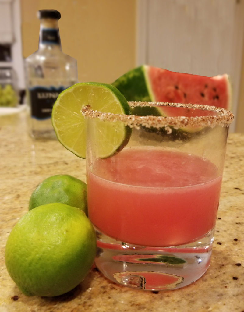 IN-SANDIARY drink made with tequila, watermelon, and lime