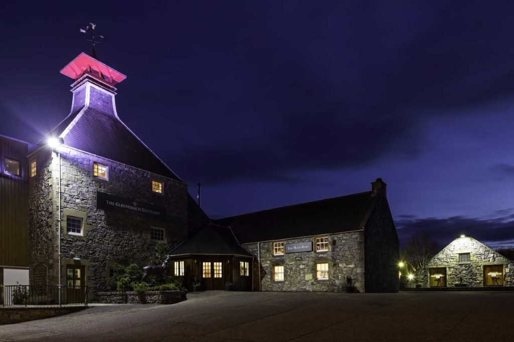 glenfiddich distillery at night
