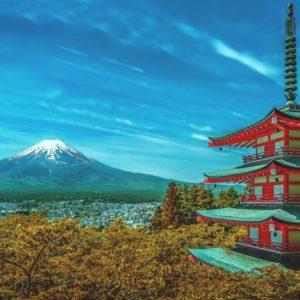 japan fuji and building