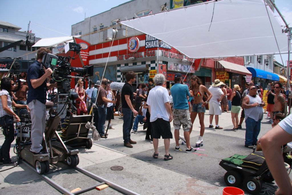 movie extras filming outside
