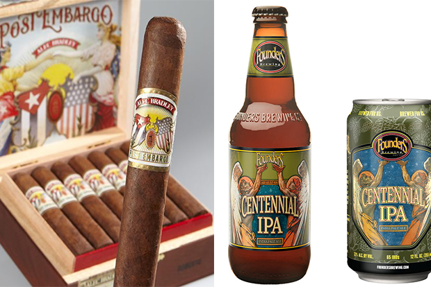 Cigar and Beer Pairings for 4th of July Alec Bradley Post Embargo and Founders Brewing Centennial IPA