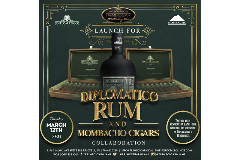 Prime Cigar to Host Mombacho Diplomatico Rum Event